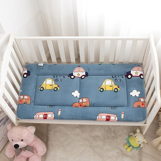 Baby Crib Bedding Set 120x60cm Toddler Bed Mattress Pad Fleece Breathable Boys Girls Cartoon Bed Set Room Cute Floor Play Mat