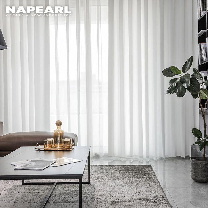 NAPEARL White Sheer Tulle Curtains For Living Room Bedroom Hotel Window Treatment 100x250 Cheap Voile Curtain Drapery