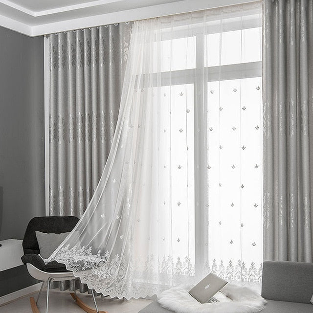 Dreamwood New Design Fabric High Shading European Jacquard Modern Gray/Pink/Blue Customized Finish Blackout Living Room Curtain