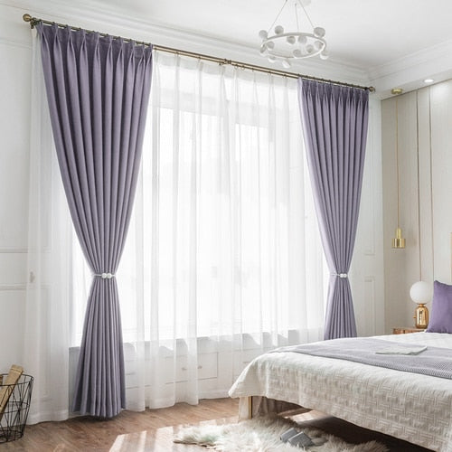 Luxury Soft Blinds Solid Curtains Dark Green/Purple/pink Blackout Window Curtains for Living Room Bedroom Drapery