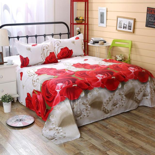 3 Piece Sheet Set 3D Printed Polyester Bedding Sheets Flower Design Bedding Flat Sheet Pillowcase