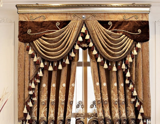 European Style Curtains for Living Dining Room Bedroom Coffee Color Chenille Villa Embroidered Valance Curtains