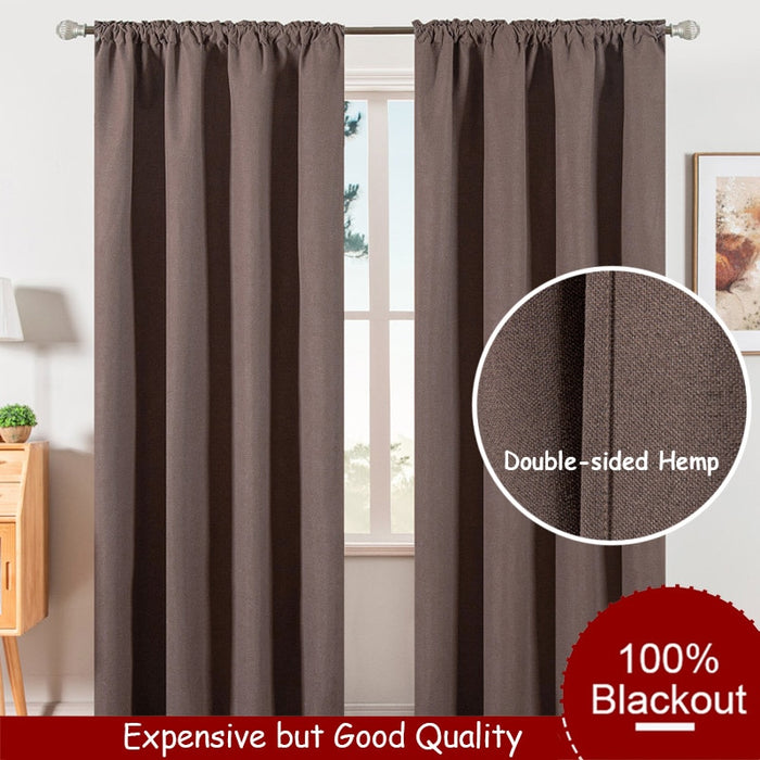Quality Curtains 100% Blackout Curtains for Living Room Bedroom Kitchen Window Treatment Home Decor Brown Grey Blue Hemp Curtain