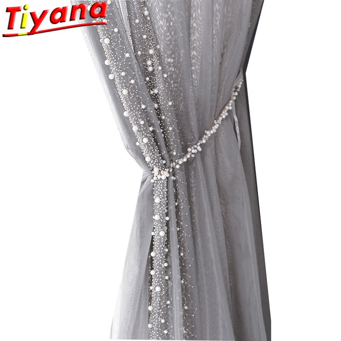 Side Beading Embroidered Tulle Curtains for Living Room Light Luxury Pearls Grey Sheer Volie for Balcony ZH452#VT