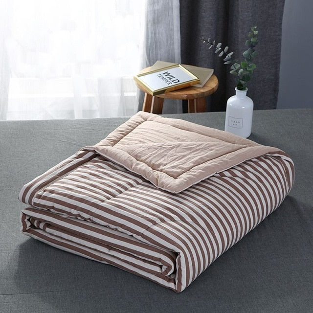 Summer Stripe Quilt Soft Breathable Bed Blanket Home Air-conditioning Comforter Washed Cotton for Student Adult Kids Quilt