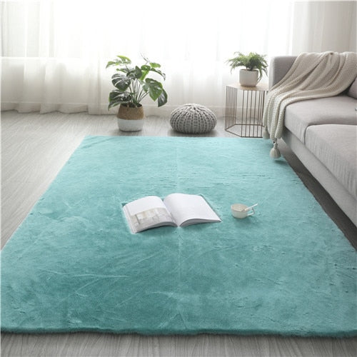 Super Soft Faux Rabbit Fur Rug Non Slip Floor Carpet Mat Washable Rugs Bedroom Living Room Decor Carpet Plush fluffy carpet