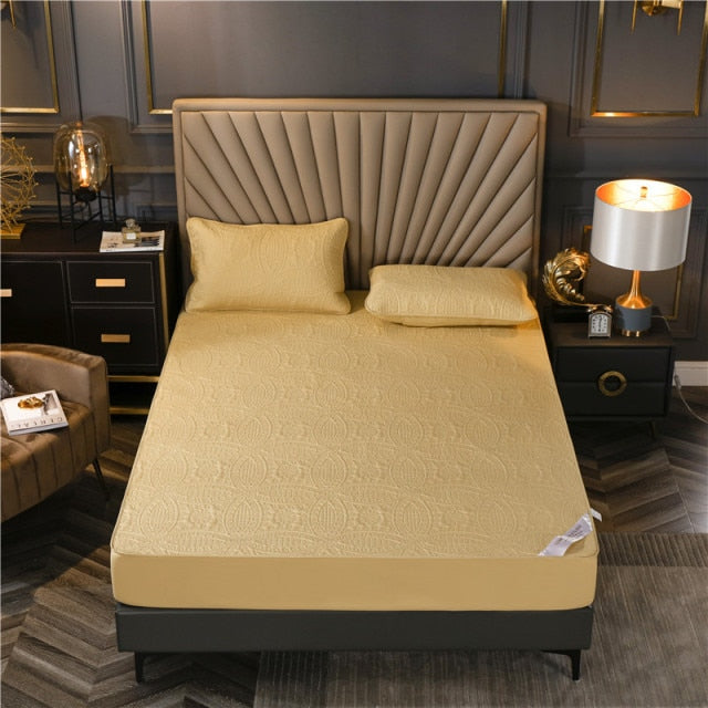 100% Cotton Solid Color Quilted Embossed Waterproof Mattress