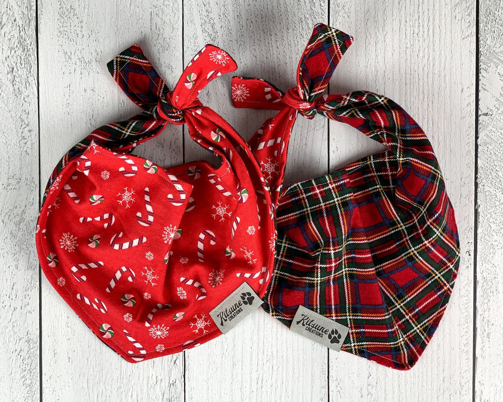 Candy Cane Plaid Dog Bandana