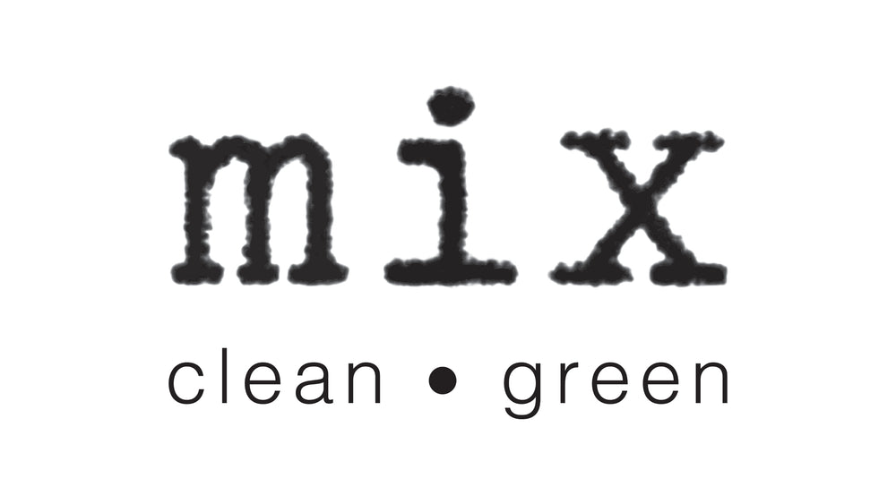 Mix Clean Green logo in typewriter print with clean, green underneath