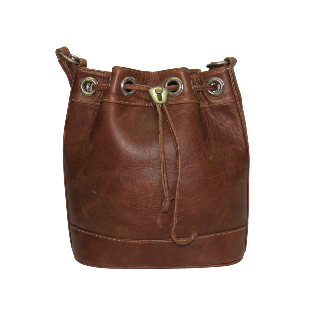 Load image into Gallery viewer, Jacqui-O Leather Drawstring Handbag