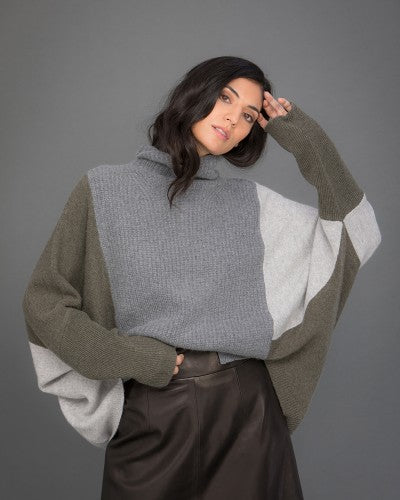 Patchwork Cashmere Jumper in grey and green