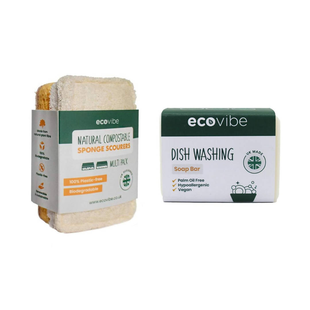 COMPOSTABLE SPONGE & SCOURER DUO PACK + HANDMADE DISH WASHING SOAP BAR - 130G