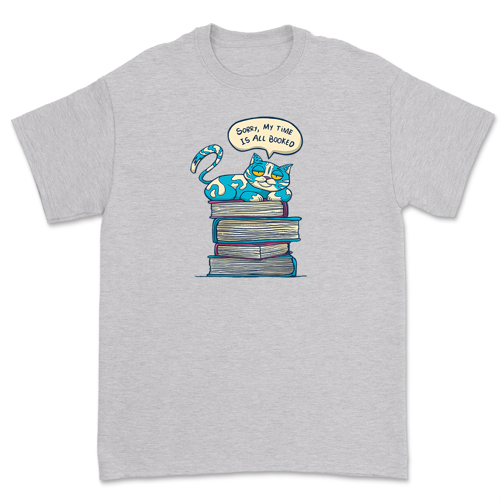 My Time Is All Booked Shirt Unisex Teacher Book Lover Tee Cat With Books Librarian Reading Gift Short Sleeve Tops