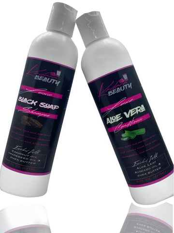 Luxe Black Soap Shampoo (8oz) and Luxe Aloe Vera Conditioner (8oz)
