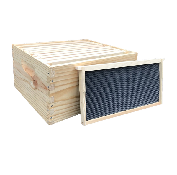 Box Kit 9-5/8 Deep Commercial box with 10 Frames Double Waxed Plastic Foundation Assembled