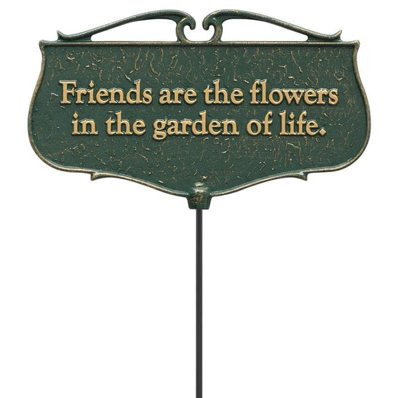 Whitehall Products 10041 Friends are the Flowers...  - Garden Poem Sign - Green/Gold