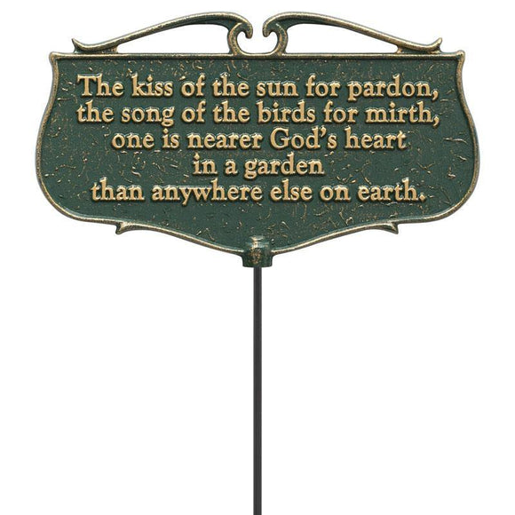 Whitehall Products 10046 The Kiss of the Sun...  - Garden Poem Sign - Green/Gold
