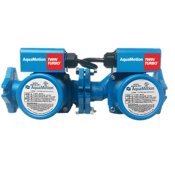 AquaMotion AM10-FV2 TwinTurbo Cast Iron with check valve, HeadFt:21 GPM:23