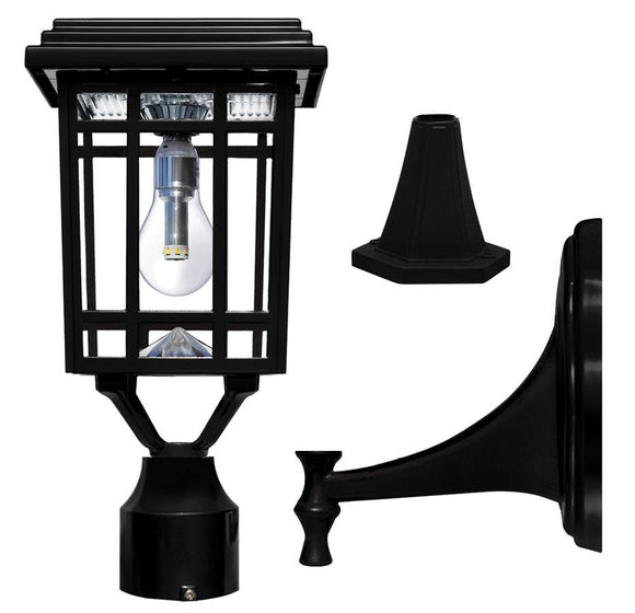 Gama Sonic GS-114B-FPW-BLK Prairie Bulb Solar Light w/GS Light Bulb - Wall/Pier/3