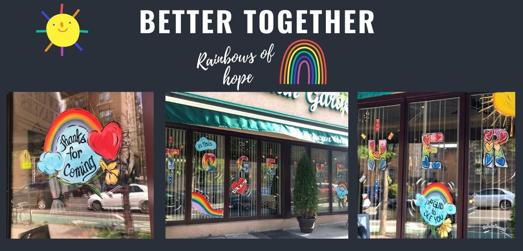 window painting nyc pandemic art rainbows of hope ny tough better together allison luci allie for the soul