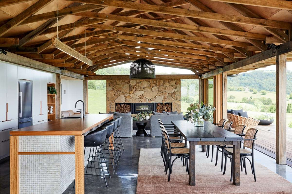 Modern Farmhouse Stone Fireplace and Dining Room