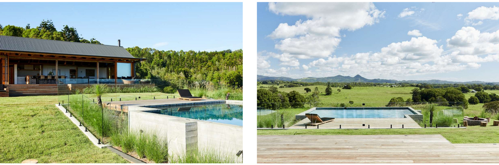 Swimming pool overlooking the byron bay hinterland