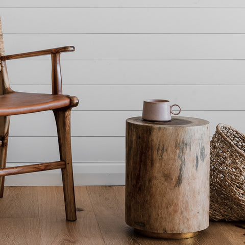 Maho Wooden Stump Stool from the Gathered Collection