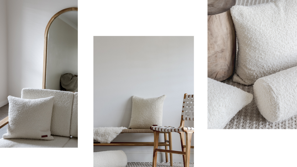 boucle cushions and bench