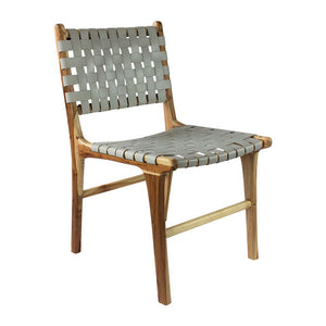 Leather Strapping Woven Dining Chair in Grey Smoke