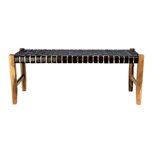 Black Leather Strapping Elk Bench