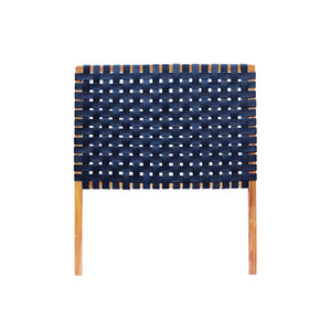 Leather Strapping Headboard in Navy Blue