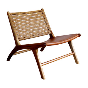 Leather and Rattan occasional Chair