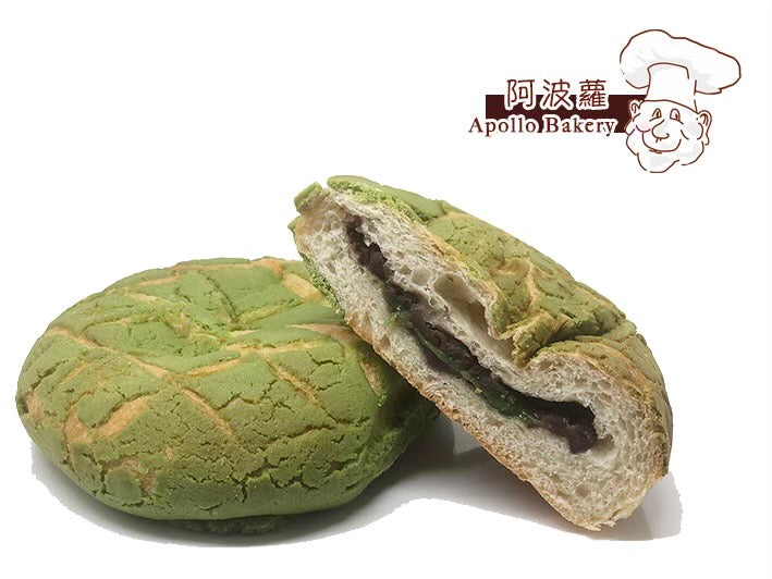 Apollo: Matcha Mochi Red Bean Bread (2 Pcs)