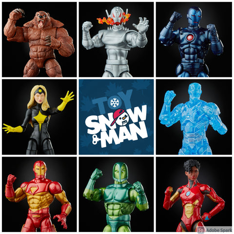 Comic Legends Marvel legends Iron Man Wave 1 Set of 7 Figures ( Ursa Major BAF) - Toy Snowman
