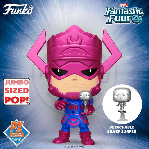 "Pop! Marvel: Fantastic Four - 10"" Galactus w/ Silver Surfer (Metallic Ver.) PX Previews Exclusive - Toy Snowman"