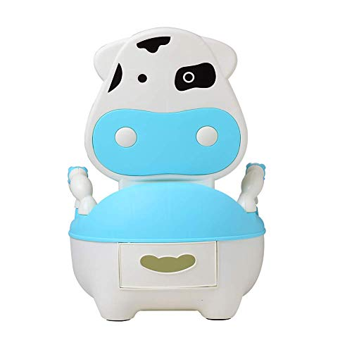 Glenmore Childrens Boys and Girls Potty Training Chair Seat Animal Potty Cow Soft Cushioned with Handles Blue