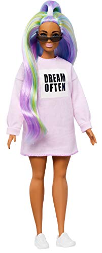 Barbie GHW52 Fashionistas Doll with Long Rainbow Hair Wearing Sweatshirt Dress and Accessories