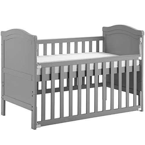 ZOEON Solid Wood Baby Cot Bed 120 x 60 cm Toddler Bed with Foam Mattress & Teething Rails, Converts into a Junior Bed, Single-Handed Dropside Mechanism, 3 Adjustable Position (Gray)