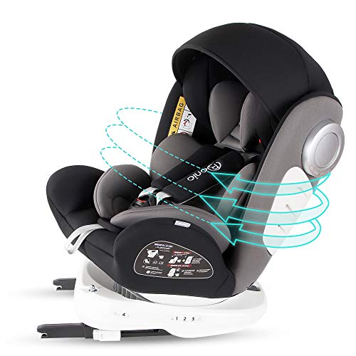Bonio Baby Car Seat 360 Swivel ISOFIX Group 0+/1/2/3 (0-36 kg) with Detachable Sunshade Canopy (Black)