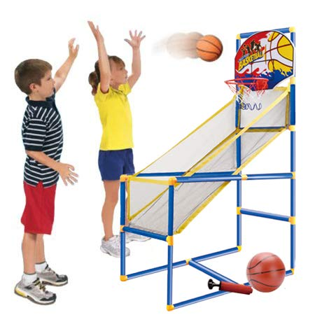 Kids Arcade Basketball Hoop Shot Game - Indoor Sports Shooting System with Mini Hoop, Inflatable Ball and Pump