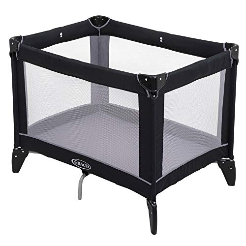 Graco Compact Travel Cot (Birth to 3 Years Approx.) with Signature Graco Push-Button Fold, Includes Carry Bag, Black/Grey