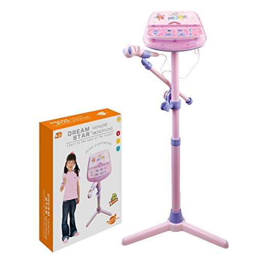 ColiCor Karaoke Machine With Microphone Children Multi-function Vertical Microphone Karaoke Singing With light for Kids