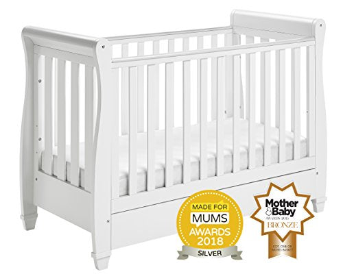 Babymore Eva Sleigh Cot Bed Drop Side with Drawer & Fibre Mattress | Solid Pine Wood | Converts into Day Bed, Toddler Bed | Teething Rail (White)