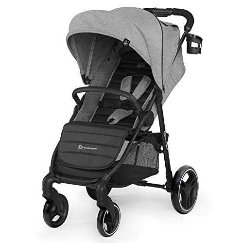 Kinderkraft Lightweight Stroller Grande City, Pushchair, Baby Buggy, Quick Folding, Lying Position, Ajustable Hood, Footrest, with Accessories, Footmuff, from Birth to 3 Years, Gray