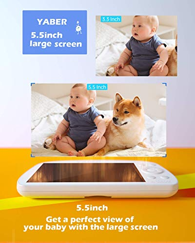 "Video Baby Monitor, YABER Baby Monitor with Camera and Audio 1080P 5.5"" HD Display,250m Range,5000 mAh Battery,Infrared Night Vision,Two-Way Talk,Remote Pan & Tilt,Staeble Signal Reception"