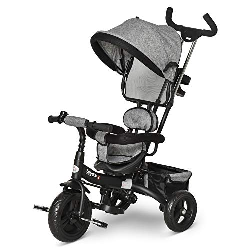 HOMCOM 3 in 1 Baby Tricycle Toddler Stroller Kids Pedal Tricycle w/ Pusher Removable Canopy Safety Belt Storage Footrest Brake for 18 Months to 5 Years Grey