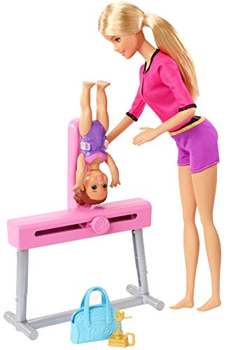 Barbie FXP39 Gymnastics Coach Dolls and Playset, Multi-Colour