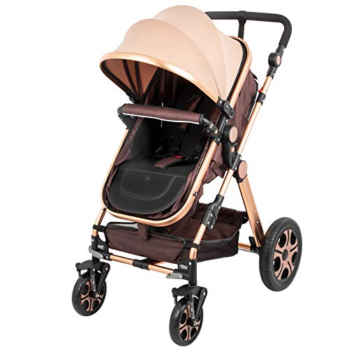 BuoQua 2in1 Baby Stroller Portable Baby Carriage Stroller Foldable Luxury Baby Stroller Adjustable High View Pram Travel System Infant Carriage