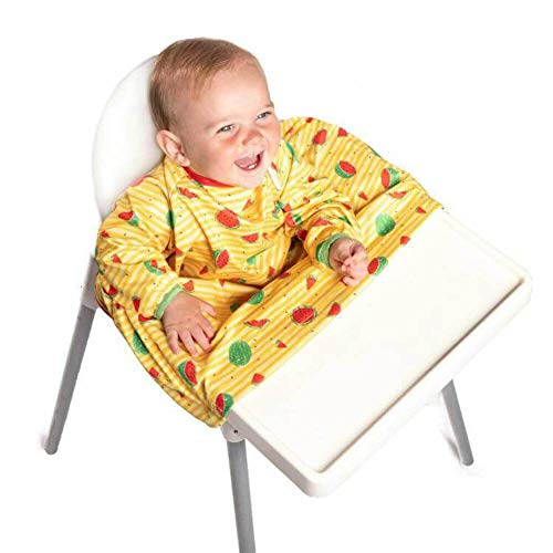 Weaning Bib - BIBaDO (Yellow) - The Award Winning Baby Feeding Coverall Smock, Attaches to Your highchair, Ideal for BLW Mess, Long Sleeves, Waterproof, One Size fits All
