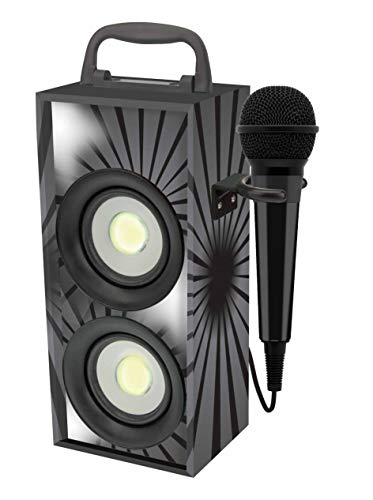 Lexibook BTP155BKZ Portable Karaoke With Microphone, 4W RMS, LED light, Aux-in jack, Rechargeable Battery, Black